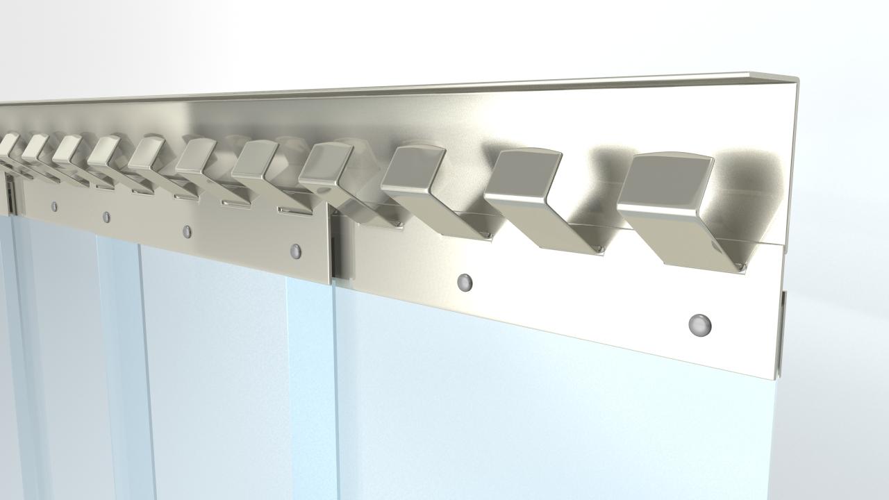 Edelstahl Aufhangleiste für Streifenvorhänge